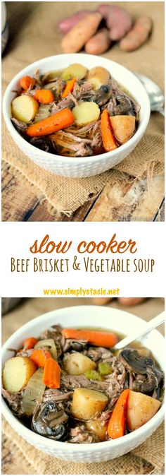 Slow Cooker Beef Brisket & Vegetable Soup – Warm your body and feed your soul with this delicious comfort food recipe! Best Vegetable Soup Recipe, Vegetable Soup Crock Pot, Beef Soup Recipes, Vegetable Soup Healthy, Healthy Recipes, Healthy Soup, Slow Cooking, Crock Pot Slow Cooker, Slow Cooker Recipes