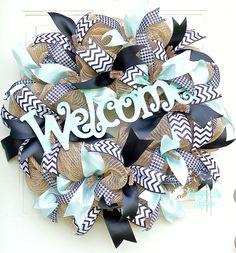 Everyday Welcome Jute Wreath~Jute~Chevron~Houndstooth~Teal~Door Decor~Designs By Katina www.facebook.com/DesignsByKatina www.DesignsByKatina.etsy.com
