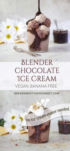 Blender Chocolate Ice Cream - {vegan, banana-free} The fastest route possible to healthy chocolate ice cream without an ice cream maker. MY RECIPE: https://greensmoothiegourmet.com/blender-chocolate-icecream-vegan-bananafree-dairyfree/