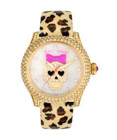 Betsey Johnson Women's BJ00019-25 Leopard/White Watch - Jewelry For Her