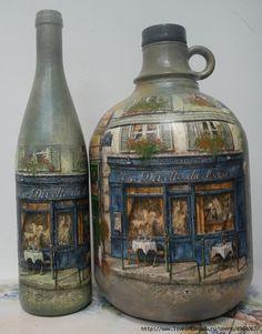 decoupage on glass? Decoupage Glass, Decoupage Vintage, Decoupage Art, Glass Bottle Crafts, Wine Bottle Art, Diy Bottle, Altered Bottles, Bottles And Jars, Glass Bottles