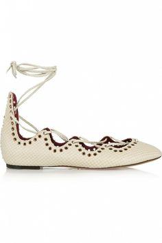 Isabel Marant Leo Snake-Effect Leather Ballet Flats in off-white