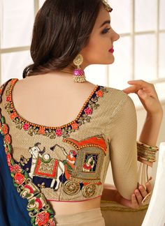 Buy latest saree collection of designer wedding sarees for womens, cheap indian sarees shopping. Buy this resplendent art silk beige and navy blue designer saree. Blouse Designs Catalogue, Fancy Blouse Designs, Bridal Blouse Designs, Blouse Neck Designs, Hand Work Blouse Design, Stylish Blouse Design, Designer Blouse Patterns, Stylish Sarees, Indiana
