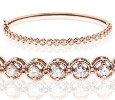 Diamonds Bangle Bracelet 1.15Ct Natural Diamonds Set In 14K White Gold