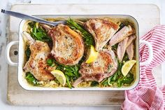 Do Sunday dinner a bit differently this week with this creamy risoni tray bake, served with delicious, tender pork cutlets. Mince Recipes, Pork Recipes, Cooking Recipes, Pork Dishes, Pasta Dishes, Rice Dishes, Pork Cutlets, Pork Chops, Creamy Pasta Recipes