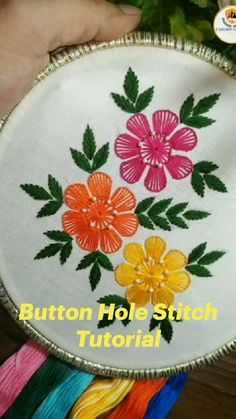 Hand Embroidery Patterns Flowers, Hand Embroidery Videos, Embroidery Stitches Tutorial, Simple Embroidery, Embroidery Techniques, Hand Applique, Elsa, Button Hole, Dress