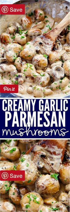 Creamy Garlic Parmesan Mushrooms 10 mins to make serves 4-6 - Ingredients Vegetarian Gluten free Produce 2 cloves Garlic 8 oz Mushrooms white 1 Parsley fresh Baking & Spices 1 tsp Italian seasoning tsp Pepper tsp Salt Oils & Vinegars 1 tbsp Olive oil Dairy 2 tbsp Butter 2 oz Cream cheese cup Heavy cream cup Parmesan cheese grated