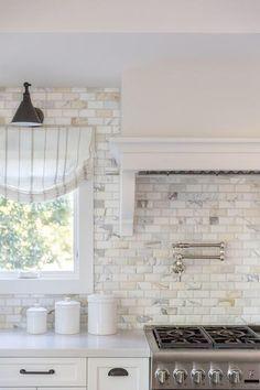 Countertop Concrete, Brick Tile Backsplash, Gray Quartz Countertops, Backsplash For White Cabinets, Backsplashes With White Cabinets, Kitchen Brick Backsplash, White Shaker Kitchen Cabinets, Quartz Backsplash, Kitchen Cupboard