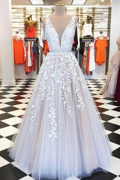 A-line ivory lace long prom dress 2020