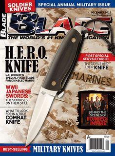 LTWK H.E.R.O. knife on the cover of Blade Magazine - L.T. Wright Handcrafted Knives. #ltwk #hero #blade #blademagazine #knife