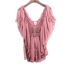 Woven Fabric Jersey Combined Crochet & Beads Embellished Top
