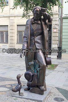 Hans Christian Andersen Statue - Bratislava, Slovakia;  photo by Julie Woodhouse