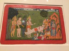 """Rama, Lakshmana, Hanuman, and Sugriva Mourn the Death of Bali,"" illustrated folio from the dispersed ""Mankot"" Ramayana (Story of Rama), Punjab Hills, probably kingdom of Mankot or Nurpur, c. 1725-50, Metropolitan Museum of Art"