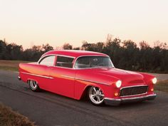 #Red 1955 Chevy Bel Air Coupe