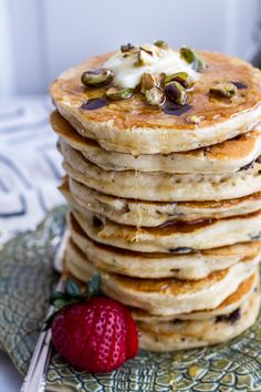 Chocolate Chip Lemon Baklava Pancakes with Salted Vanilla Honey Syrup