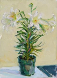 """Daily Paintworks - """"April Lily,still life,oil on canvas,16x12,price$300"""" - Original Fine Art for Sale - © Joy Olney"""