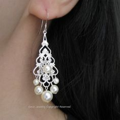 Bridal Chandelier Earrings Ivory Pearl Bridal by eminjewelry, $36.00