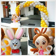 Lovely balloon arch with bunny and his friend! The colors make it ideal for a spring decoration. #Easter #BalloonDecorations