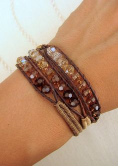 Ombre Beaded Macrame Bracelet with Brown Leather Swarovski Crystal and Button Clasp. $64.00, via Etsy.