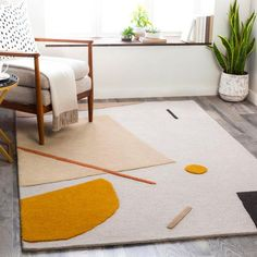 Primiano Handmade Tufted Wool Beige/Orange Area Rug Rug Size: Rectangle x Orange Rugs, Yellow Rug, Orange Area Rug, Modern Spaces, All Modern, Modern Decor, Gold Rug, Contemporary Area Rugs, Modern Contemporary