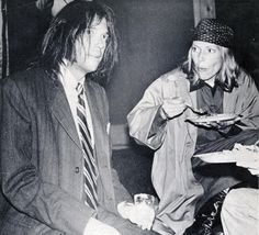 getting into her tucker: Neil and Joni Mitchell at the launch of Tonight's The Night in 1975