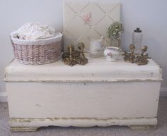 I have this chest, it was my Grandmothers Blanket Box.  I have distressed it just like this