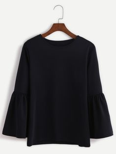 Shop Black Round Neck Bell Sleeve Blouse online. SheIn offers Black Round Neck Bell Sleeve Blouse & more to fit your fashionable needs.