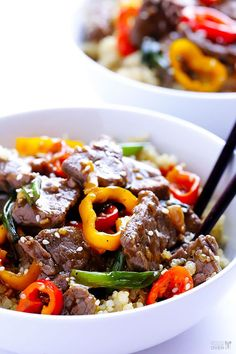 Easy Pepper Steak Recipe | gimmesomeoven.com - Changes:  Braggs aminos instead of soy sauce, a different vinegar, leeks instead of onions or garlic and no rice...  Serve with potatoes.
