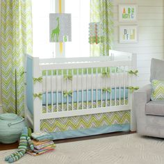 Carousel Designs Lime Charades Crib Bedding Set on our Ricki Crib with fabric panels