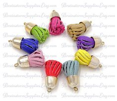 Twisted Tassels! GOLD Cap, ASSORTED Color Mix of 5 or 10 Pieces. A New Twist in…