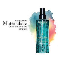 Materialiste instantly expands the thickness of each hair fiber so hair looks and feels thicker and there is more hair matter to style. Hair is weightlessly texturized while retaining it's cosmetic touch. Ideal for fine-medium hair types.