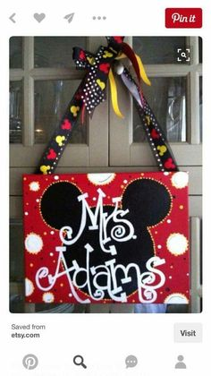 Mickey Mouse sign for Rachael's classroom door Teacher Door Signs, Classroom Door Signs, Teacher Door Hangers, Teacher Doors, Classroom Board, Future Classroom, Mickey Mouse Classroom, Disney Classroom, Classroom Themes