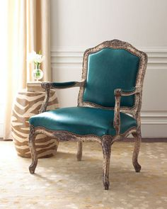 Teal leather & distressed wood! Leather Chair by Old Hickory Tannery at Horchow.