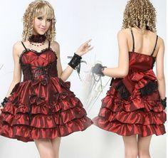 Ladies Sexy Black/Red Sweet Bowtie Lolita Dress Costume Cosply S M L #61182 #GLP #LolitaDress #Clubwear