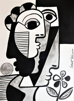 black and white cubism Pablo Picasso Drawings, Picasso Prints, Art Sketches, Art Drawings, Abstract Face Art, Cubist Art, Art Moderne, Cat Art, Art Inspo