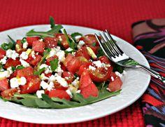 Watermelon, feta and arugula salad, with a tangy orange vinaigrette dressing.
