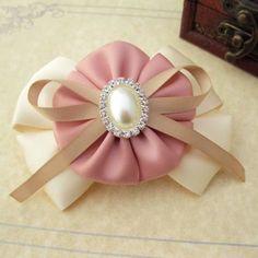 粉嬾缎带珍珠 蝴蝶结大发夹
