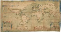 Francis Drake's map....sailed the seas and circumnavigated the globe.....watercolor, pen and ink.  ca. 1587