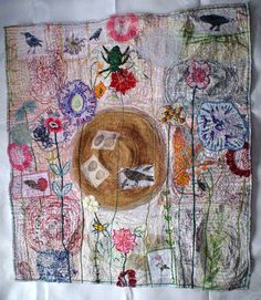 'Small Worlds' – Recycled textile art by Anne Kelly - Free Motion Embroidery, Embroidery Art, Machine Embroidery, Textile Fiber Art, Textile Artists, Creative Textiles, Contemporary Embroidery, Fabric Journals, Thread Art
