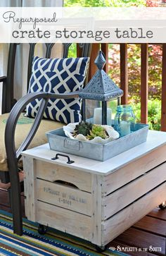 DIY Ideas | Turn a shipping crate into an indoor/outdoor storage side table. It's perfect for storing extra pillows, outdoor toys, etc on your porch or patio!