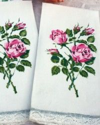 Set of 2 Vintage Pink Rose Linen and French Lace Guest Towels: French Garden House