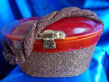 VINTAGE CHOCOLATE SEED BEADED PURSE RAISED TORTOISE COLOR LUCITE LID!!