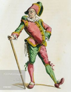 Polichinelle in 1820, french version of Pulcinella, illustrated by Maurice Sand (1823-1889), engraving from the Commedia dell'Arte study entitled Masques et bouffons, comedie italienne, Paris, 1860. France, 19th century.