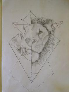 Lion skull tattoo sketch design
