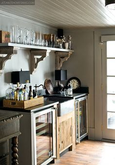 this is a kitchen, but i like the see through mini fridges