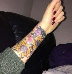 hippie tattoo 289215607321065630 - My new tattoo , forearm wildlife illustrated floral. Hippy / boho – – Source by maelllys Flower Wrist Tattoos, Wrist Tattoos For Guys, Small Wrist Tattoos, Forearm Tattoos, Finger Tattoos, Tattoos For Women, Underboob Tattoo, Sunflower Tattoo Sleeve, Sunflower Tattoo Shoulder
