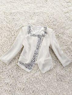 White Long Sleeve Rhinestone Crop Suit