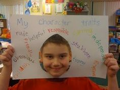 Teaching character traits, I really like this! I can use this to put what our character traits are, but also the kind of traits that we want to strive for. Character Traits Activities, Character Education, Reading Skills, Teaching Reading, Teaching Ideas, Learning, Classroom Inspiration, Classroom Ideas, Classroom Projects