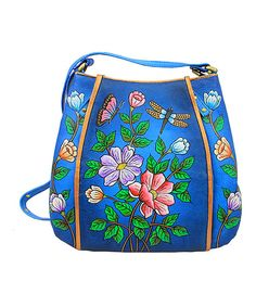 Look at this Magnifique Bags Dark Blue Floral Hand-Painted Leather Organizer Shoulder Bag on #zulily today!