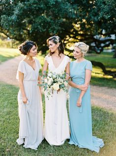 Blue mismatched bridesmaids dresses | Courtney Leigh Photography